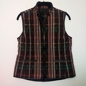 Talbots Brown Plaid Quilted Zip Up Vest S Petite